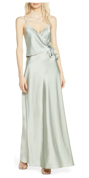 Wayf the cooper satin faux wrap gown in pistachio