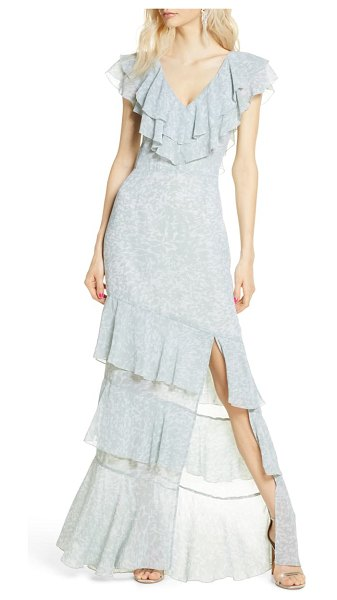 Wayf the hailey ruffle tiered gown in seafoam shadow print