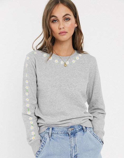 We Are Hairy People organic cotton sweatshirt with hand painted daisy chain-gray in gray