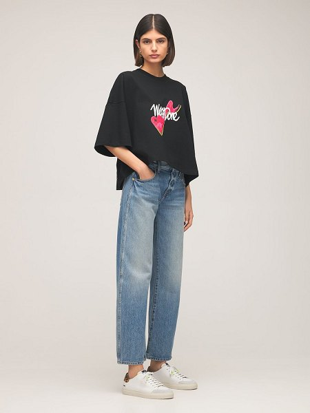 We11Done Logo cotton jersey cropped t-shirt in black,multi