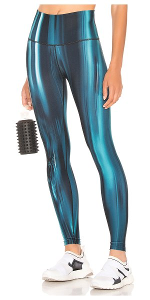 Wear It To Heart Bowie High Waisted Legging in blue - 88% poly 12% spandex. Banded waist. 4-way stretch...
