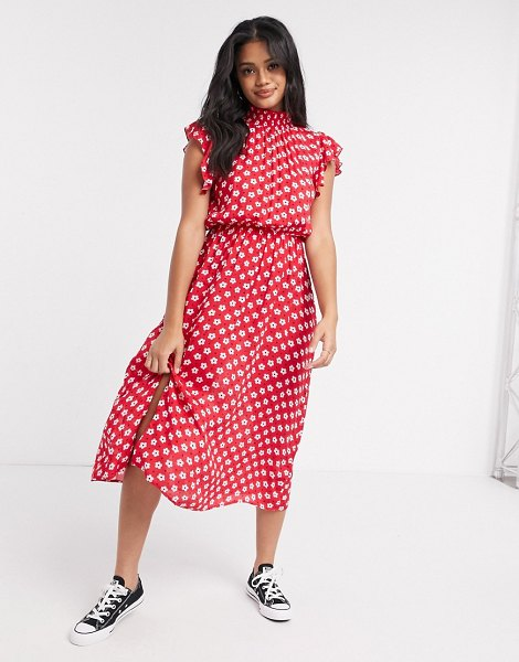 Wednesday's Girl midi dress with frill sleeves in floral polka dot-red in red