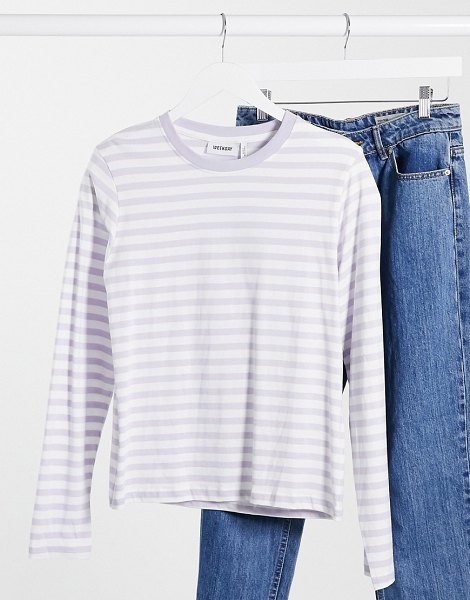 Weekday alanis organic cotton striped long sleeve t-shirt in dusty lilac-purple in purple