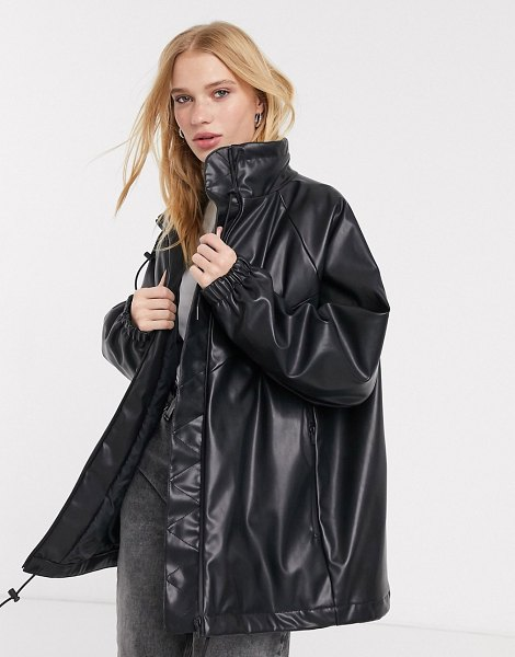 Weekday briana faux leather bomber in black in black
