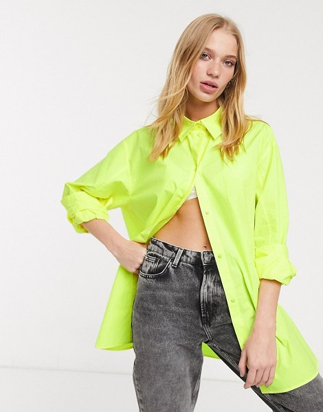 Weekday button through poplin shirt in yellow in yellow