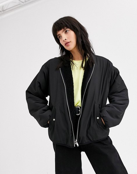Weekday candace reversible jacket in black in black