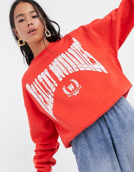 Weekday cora organic cotton healthy print sweatshirt in red in red