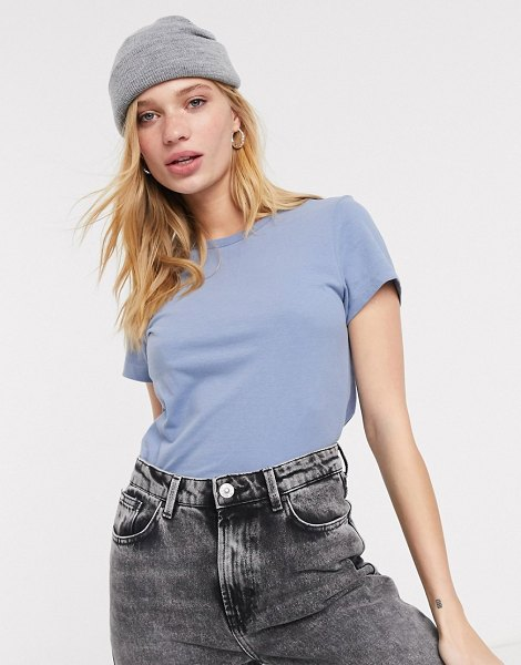 Weekday forever cropped classic t-shirt in dove blue in blue