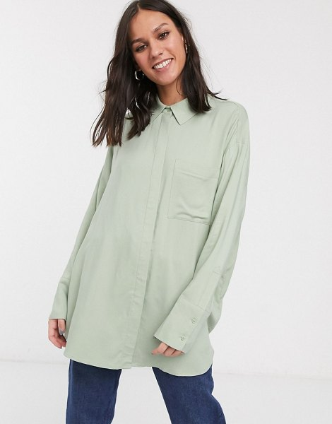 Weekday free oversized button through shirt in dusty green in green