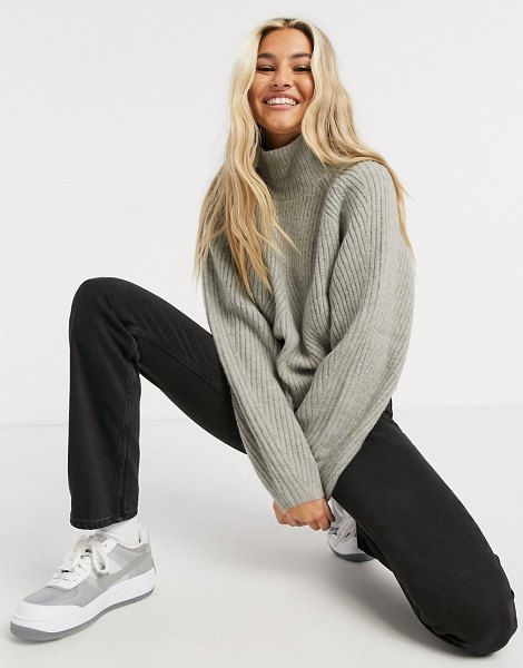 Weekday gaia chunky knit funnel sweater in gray marl in gray