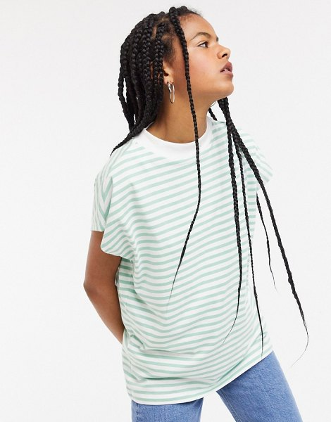 Weekday prime organic cotton striped high neck tee in green and white-multi in multi