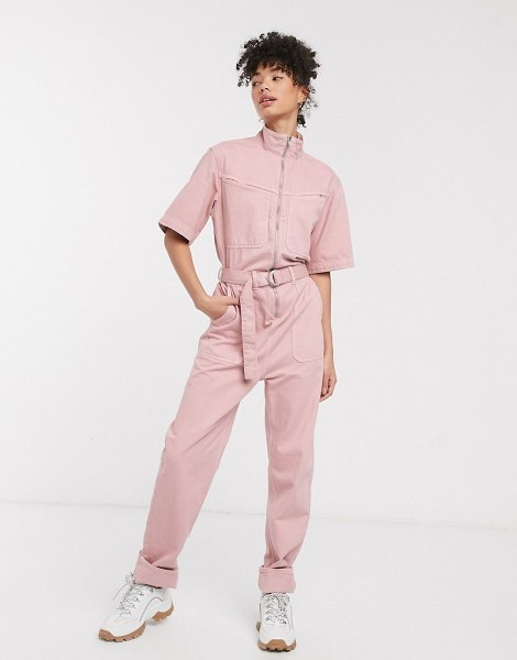 Weekday short sleeve denim boiler suit in washed pink in pink