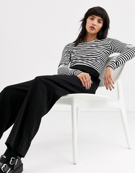 Weekday striped long sleeve tee in black and white in blackwhitestripes