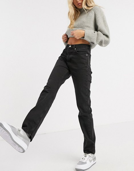 Weekday wire organic cotton relaxed straight leg jeans in almost black in black