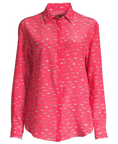 Weekend Max Mara cine car-print silk blouse in pink