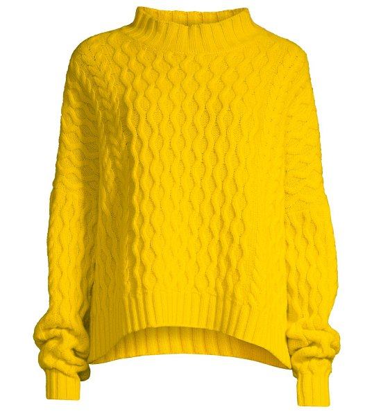 Weekend Max Mara origano cable-knit wool sweater in yellow