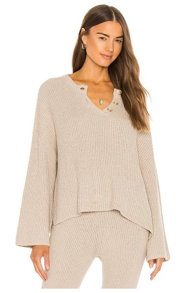 Weekend Stories oversized rib henley in nude