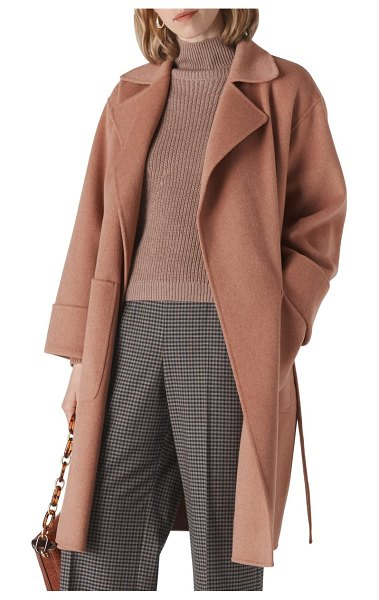 Whistles double face wool blend wrap coat in pale pink
