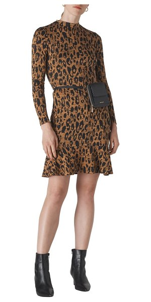 Whistles leopard print long sleeve jersey dress in brown/ multi