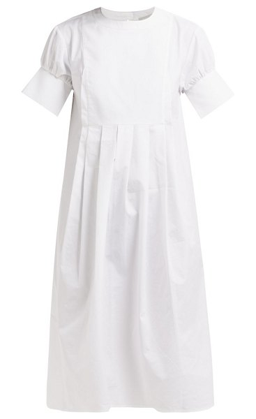 White Story peggy pleated cotton shirtdress in white - White Story - White Story's understated tailoring is...