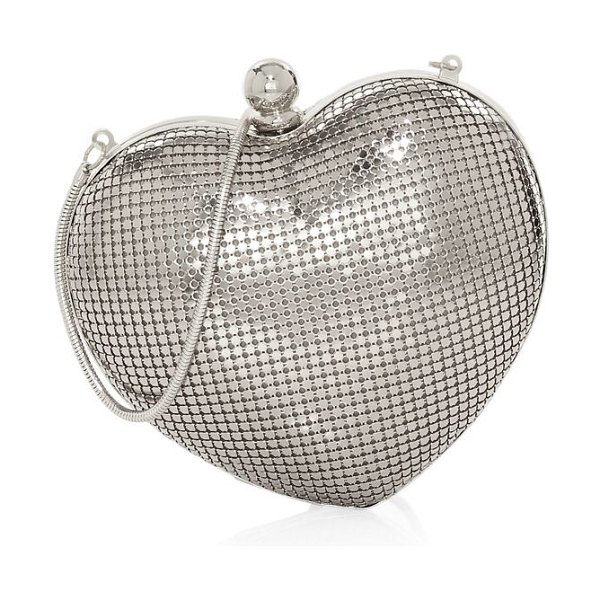 Whiting & Davis charity heart minaudiere in gold,silver