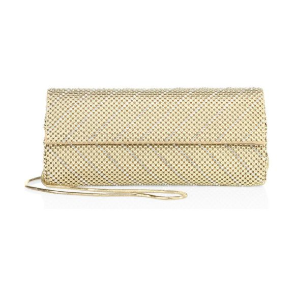 Whiting & Davis crystal chevron convertible clutch in gold