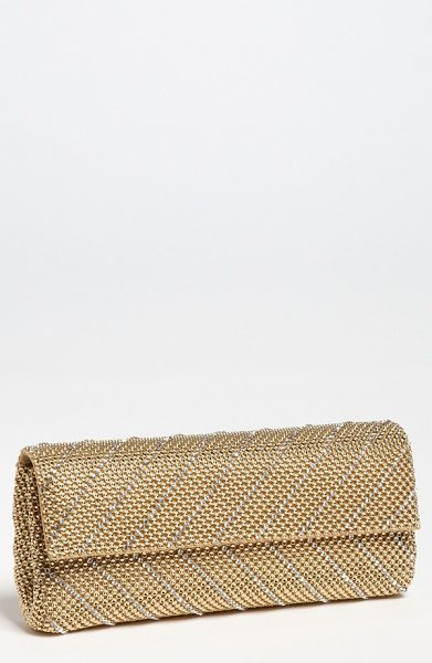 Whiting & Davis 'crystal chevron' flap clutch in gold