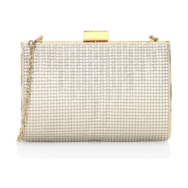 Whiting & Davis crystal drips clutch in pearl