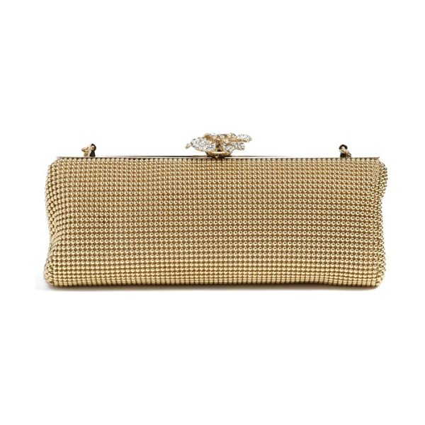 Whiting & Davis 'crystal flower' metal mesh clutch in gold