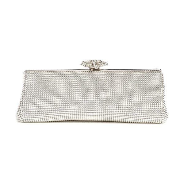 Whiting & Davis 'crystal flower' metal mesh clutch in silver
