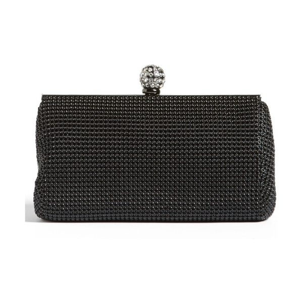 Whiting & Davis 'crystal' mesh clutch in black