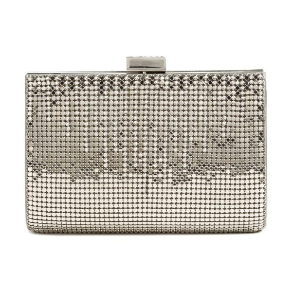 Whiting & Davis 'diamond drips' evening clutch in pewter