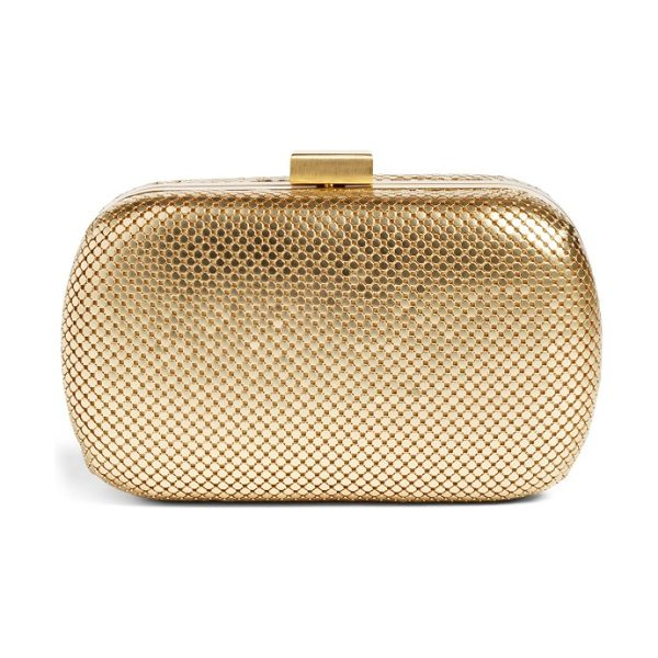 Whiting & Davis mesh oval minaudiere in gold