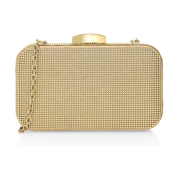 Whiting & Davis warhol mesh minaudière in gold
