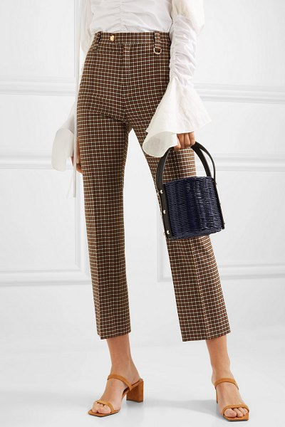 Wicker Wings quan rattan and leather bucket bag in navy
