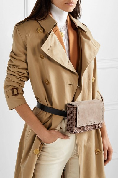 Wicker Wings tao rattan, suede and leather belt bag in neutral - Wicker Wings' 'Tao' belt bag is great for vacations,...