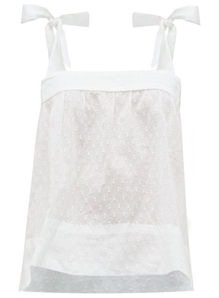 WIGGY KIT pretty fil-coupé cotton cami top in white
