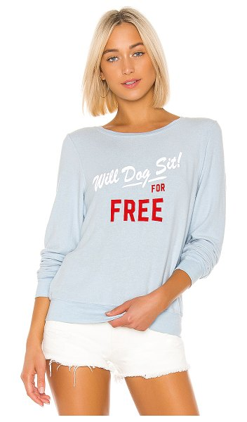 Wildfox dog sit baggy beach sweatshirt in powder