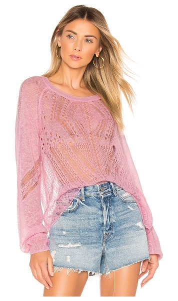 Wildfox Jackie Sweater in pink - Acrylic blend. Dry clean only. Open knit fabric. Rib...