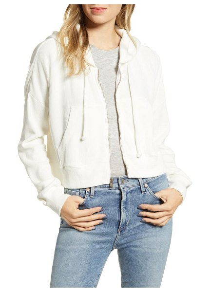 Wildfox kinley hooded crop cotton blend sweatshirt in vanilla