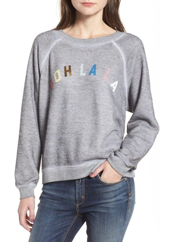 WILDFOX ooh la la sweatshirt - Look tres chic in this heathered sweatshirt emblazoned...