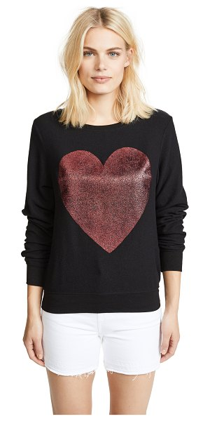 Wildfox sparkle heart baggy beach pullover in jet black