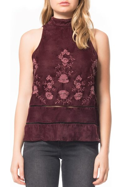 Willow & Clay embroidered velvet top in plum - Beaded floral embroidery paired with a ruffled hem makes...