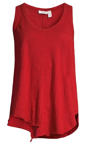 Wilt distressed asymmetric cotton muscle tank in lipstick