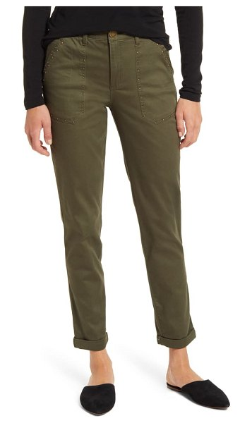 Wit & Wisdom ab-solution high waist studded utility pants in caper