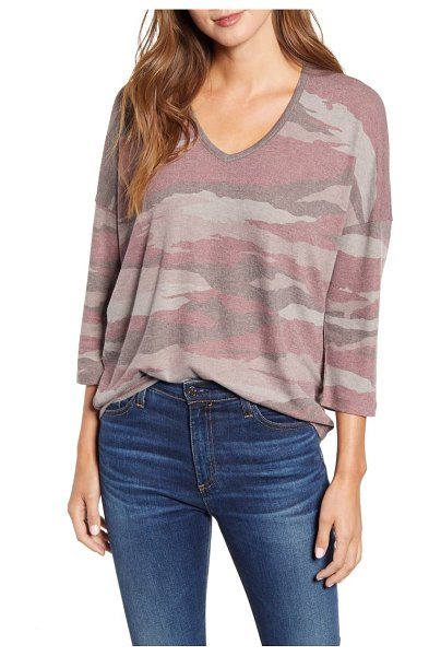 Wit & Wisdom camo v-neck top in withered rose