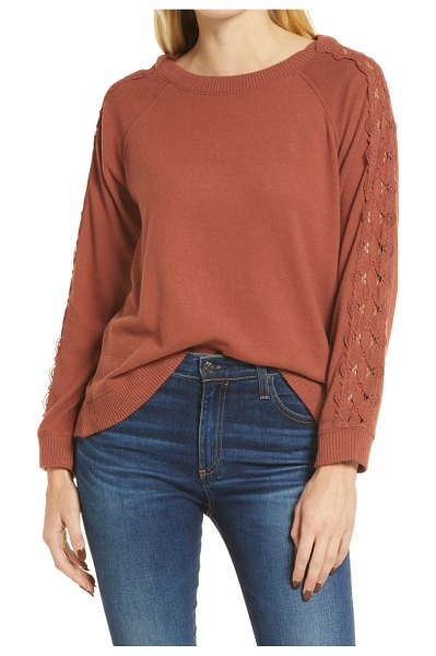 Wit & Wisdom lace inset long sleeve boatneck top in rustic brown