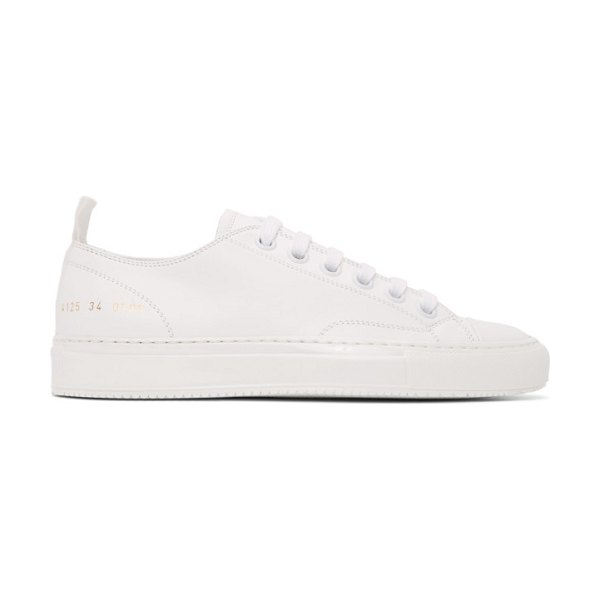 Common Projects white leather tournament low sneakers in 0506 white