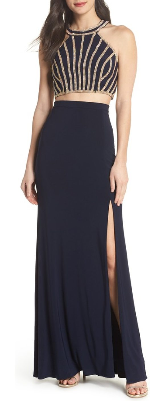 Xscape Beaded Top Two-Piece Dress in Blue | Shopstasy