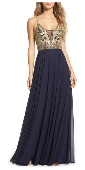 Xscape Embellished Bodice Gown in Blue | Shopstasy